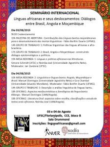 Cartaz evento Linguas bantu